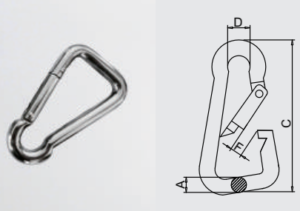 Oblique Angle Snap Hook AISI304/316 for climbing safety equipment