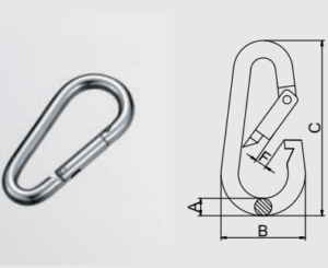 Stainless steel 304/316 Pear Shaped Snap Hook for climbing_EN959