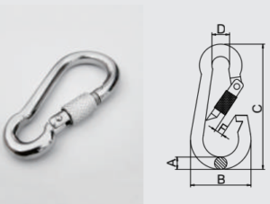 Stainless Steel 304L/316L Snap Hook with Nut for Clmibing Safety_EN959 Approval